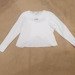 Size 16 White Gym Shark long sleeve lycra top activewear